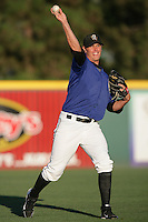 Dillion Baird of the Rancho Cucamonga Quakes during game against the Inland Empire 66'ers at The Epicenter in Rancho Cucamonga,California on August 7, 2010. Photo by Larry Goren/Four Seam Images