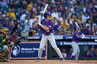 Collier Cranford (16) of the LSU Tigers at bat against the Baylor Bears in game five of the 2020 Shriners Hospitals for Children College Classic at Minute Maid Park on February 28, 2020 in Houston, Texas. The Bears defeated the Tigers 6-4. (Brian Westerholt/Four Seam Images)