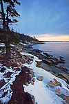 Pre-dawn skies in winter on the eastern side of the Schoodic Peninsula in Acadia National Park, Maine, USA
