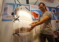 Un espositore mostra un ecosistema robotico alla Maker Faire, mostra sull'innovazione tecnologica, a Roma, 4 ottobre 2014.<br /> An exhibitor shows a robotic ecosystem at the Maker Faire exhibition on technological innovation in Rome, 4 October 2014.<br /> UPDATE IMAGES PRESS/Riccardo De Luca