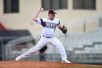 University of the Sciences Devils pitcher C.J. Hertz (16) delivers a pitch during a game against Slippery Rock on March 6, 2015 at Jack Russell Memorial Stadium in Clearwater, Florida.  Slippery Rock defeated University of the Sciences 6-3.  (Mike Janes/Four Seam Images)