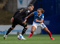 Portsmouth's Marcus Harness (right) vies for possession with Milton Keynes Dons' Richard Keogh (left) <br /> <br /> Photographer David Horton/CameraSport<br /> <br /> The EFL Sky Bet League One - Portsmouth v Milton Keynes Dons - Saturday 10th October 2020 - Fratton Park - Portsmouth<br /> <br /> World Copyright © 2020 CameraSport. All rights reserved. 43 Linden Ave. Countesthorpe. Leicester. England. LE8 5PG - Tel: +44 (0) 116 277 4147 - admin@camerasport.com - www.camerasport.com