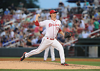 Pitcher Tyler Wilson (13) of the Greenville Drive in a game against the Charleston RiverDogs on May 31, 2012, at Fluor Field at the West End in Greenville, South Carolina. Charleston won, 13-2. (Tom Priddy/Four Seam Images).