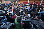 Pablo Iglesias, leader of Podemos party, speaks wth the media after casting his vote for the national elections in Madrid, Spain. December 20, 2015. (ALTERPHOTOS/Victor Blanco)