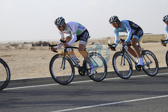 Omega Pharma-Quick Step team including Irish Champion Matt Brammeier (IRL) in action during the 2nd Stage of the 2012 Tour of Qatar an 11.3km team time trial at Lusail Circuit, Doha, Qatar. 6th February 2012.<br /> (Photo Eoin Clarke/Newsfile)