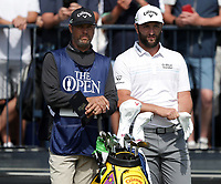 15th July 2021; Royal St Georges Golf Club, Sandwich, Kent, England; The Open Championship, PGA Tour, European Tour Golf, First Round ; on Rahm (ESP) with his caddie on the 3rd tee