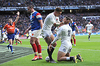 Jonny May of England is congratulated by Henry Slade  of England after scoring his second try during the Guinness Six Nations match between England and France at Twickenham Stadium on Sunday 10th February 2019 (Photo by Rob Munro/Stewart Communications)