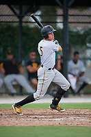 Pittsburgh Pirates Paul Brands (5) follows through on a swing during an Instructional League game against the Toronto Blue Jays on October 14, 2017 at the Englebert Complex in Dunedin, Florida.  (Mike Janes/Four Seam Images)