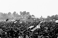 The arrival of the helicopters carrying Yasser Arafat's body to the Muqata presidential compound the day of the funeral.