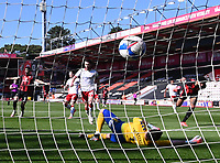 2nd April 2021; Vitality Stadium, Bournemouth, Dorset, England; English Football League Championship Football, Bournemouth Athletic versus Middlesbrough; Dominic Solanke of Bournemouth celebrates the goal from Philip Billing in 14th minute 1-0