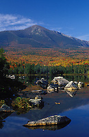 The east side of Mount Katahdin and Fall foliage reflecting in Sandy Stream Pond, Baxter State Park, Maine