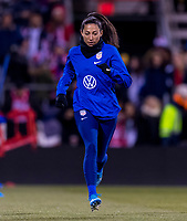 COLUMBUS, OH - NOVEMBER 07: Christen Press #23 of the United States warms up during a game between Sweden and USWNT at Mapfre Stadium on November 07, 2019 in Columbus, Ohio.