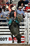 Cheyenne, Wyoming-7/26/2009-Photo by Rick Davis - PRCA cowboy Brad Pierce of Baird, Texas, scored an 89 point bull ride during final round action at the 113th annual Cheyenne Frontier Days Rodeo. Brad's total score of 256 points on three bulls earned him the 2009 Cheyenne Bull Riding Championship.