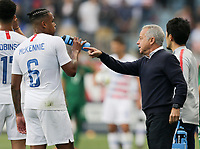 Chester, PA - Monday May 28, 2018: Weston McKennie, Dave Sarachan during an international friendly match between the men's national teams of the United States (USA) and Bolivia (BOL) at Talen Energy Stadium.