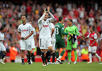 Pictured: Mark Gower of Swansea is thanking away supporters after the final whistle. Saturday 10 September 2011<br />