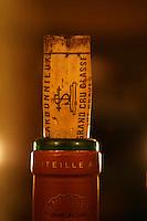 Closeup of a bottle neck with a cork. Chateau Carbonnieux Grand Cru Classe de Graves, Pessac Leognan, Bordeaux, Gironde Aquitaine
