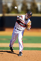 Cincinnati Bearcats relief pitcher Bryan Chenoweth (27) in action against the Radford Highlanders at Wake Forest Baseball Park on February 22, 2014 in Winston-Salem, North Carolina.  The Highlanders defeated the Bearcats 6-5.  (Brian Westerholt/Four Seam Images)