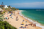Spanien, Andalusien, Provinz Cadiz, Los Canos de Meca: Strand an der Costa de la Luz an einem sonnigen Sommer Nachmittag | Spain, Andalusia, Cadiz province, Los Canos de Meca: beach at the Costa de la Luz on a sunny summer afternoon