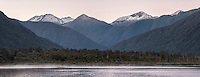 Dawn over Lake Moeraki and Thomas Range, South Westland, Landsbourough, West Coast, UNESCO World Heritage Area,, New Zealand, NZ