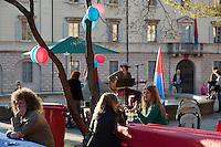 "Switzerland. Canton Ticino. Bellinzona. Political meeting of the Green Party "" I Verdi del Ticino"" on Piazza del Governo. Ticino flags. The Green Party of Switzerland also called: German: Grüne Partei der Schweiz; French: Les verts – Parti écologiste suisse; Italian: I Verdi – Partito ecologista svizzero; Romansh: La Verda – Partida ecologica svizra; ""The Greens – Swiss ecological party"". 28.03.2015 © 2015 Didier Ruef"