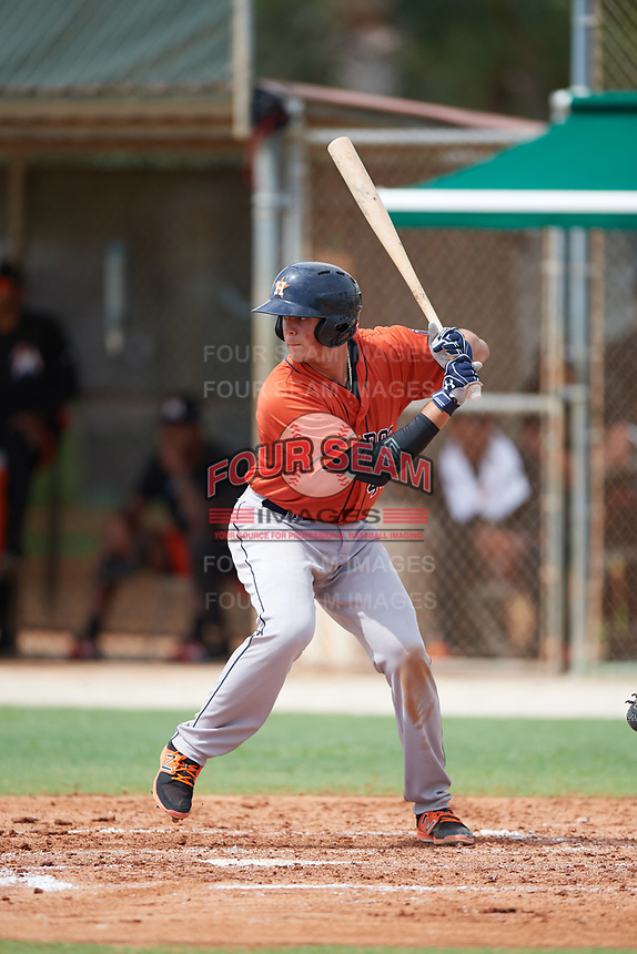 GCL Astros catcher Nate Perry (48) at bat during a game against the GCL Marlins on July 22, 2017 at Roger Dean Stadium Complex in Jupiter, Florida.  GCL Astros defeated the GCL Marlins 5-1, the game was called in the seventh inning due to rain.  (Mike Janes/Four Seam Images)