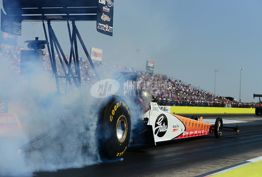 Sept. 22, 2012; Ennis, TX, USA: NHRA top fuel dragster driver Clay Millican during qualifying for the Fall Nationals at the Texas Motorplex. Mandatory Credit: Mark J. Rebilas-