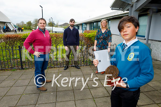 Kai Seino, Mercy Mounthawk student who was the National winner of the 2020 IMTA Junior Maths competition. Front right: Kai Seino. Back l to r: Teachers, Patrick Lyne, Dan McCarthy and Sinead Muldoon Walsh.