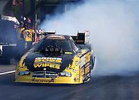 Apr 25, 2014; Baytown, TX, USA; NHRA funny car driver Jeff Arend during qualifying for the Spring Nationals at Royal Purple Raceway. Mandatory Credit: Mark J. Rebilas-