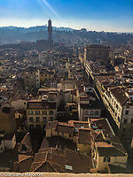 Italy, Florence Santa Maria del Fiore Church,  view of the Florence landscape from the top of the Giotto bell tower