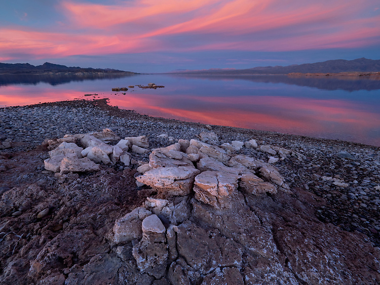 Sunset from Bonelli Bay area looking toward the Overton Arm in the Lake Mead National Recreation Area on the Arizona-Nevada border (Photo from Arizona looking into Nevada)