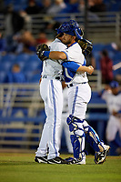 Dunedin Blue Jays relief pitcher Justin Shafer (22) celebrates with catcher Mike Reeves after closing out a game against the Clearwater Threshers on April 8, 2017 at Florida Auto Exchange Stadium in Dunedin, Florida.  Dunedin defeated Clearwater 12-6.  (Mike Janes/Four Seam Images)