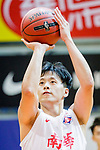Chan Cheung Man #13 of South China Athletic Association Men's Basketball Team concentrates prior to a free throw during the Hong Kong Basketball League game between SCAA and Nam Ching at Southorn Stadium on May 4, 2018 in Hong Kong. Photo by Yu Chun Christopher Wong / Power Sport Images