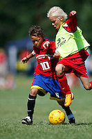 A player from team RIFA of the Philippines (left) try to hold on to the ball as he is being tackled by a Norwegian player from team Holmlia. Norway Cup is the worlds largest football tournament, in 2008 bringing together 30.000 children from all over the world, aged 10 to 19. They make up 1386 teams playing a total of 4400 matches during the week they play. The tournament is played on a big grass field just outside the center of Oslo, Norway.