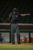 Home plate umpire Demetrius Hicks calls a batter out on strikes during an Arizona League game between the AZL Cubs 1 and the AZL Brewers at Sloan Park on June 29, 2018 in Mesa, Arizona. The AZL Cubs 1 defeated the AZL Brewers 7-1. (Zachary Lucy/Four Seam Images)