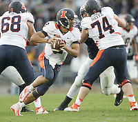 State College, PA - 11/02/2013:  Illinois QB Nathan Scheelhaase looks for an open receiver.  Scheelhaase was 33 for 52 passing during the game for 321 yards and one touchdown.  Penn State defeated Illinois by a score of 24-17 in overtime on Saturday, November 2, 2013, at Beaver Stadium.<br /> <br /> Photos by Joe Rokita / JoeRokita.com
