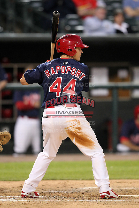 Memphis Redbirds outfielder James Rapoport #44 during a game versus the Round Rock Express at Autozone Park on April 28, 2011 in Memphis, Tennessee.  Memphis defeated Round Rock by the score of 6-5 in ten innings.  Photo By Mike Janes/Four Seam Images
