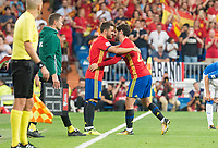 Spain's David Villa and Fernando Alarcon 'Isco' during match between Spain and Italy to clasification to World Cup 2018 at Santiago Bernabeu Stadium in Madrid, Spain September 02, 2017. (ALTERPHOTOS/Borja B.Hojas)