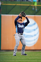 Corpus Christi Hooks outfielder Leo Heras (8) catches a fly ball during a game against the Arkansas Travelers on May 29, 2015 at Dickey-Stephens Park in Little Rock, Arkansas.  Corpus Christi defeated Arkansas 4-0 in a rain shortened game.  (Mike Janes/Four Seam Images)