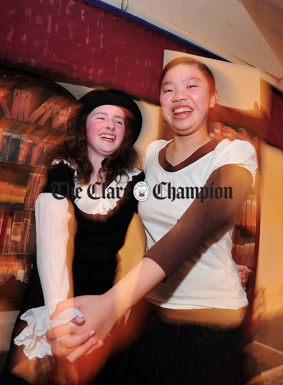 Helena O' Sullivan and Sally Chan practice one of their dance routines at the rehearsals for Scoil Mhuire's production of My Fair Lady. Photograph by Declan Monaghan