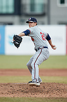 Rome Braves relief pitcher A.J. Puckett in action against the Greensboro Grasshoppers at First National Bank Field on May 16, 2021 in Greensboro, North Carolina. (Brian Westerholt/Four Seam Images)