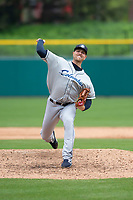 Columbus Clippers relief pitcher Jon Edwards (50) during an International League game against the Indianapolis Indians on April 30, 2019 at Victory Field in Indianapolis, Indiana. Columbus defeated Indianapolis 7-6. (Zachary Lucy/Four Seam Images)