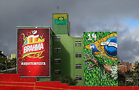 Buildings covered in graffiti in Sao Paulo, one of the 12 host cities of the 2014 FIFA World Cup