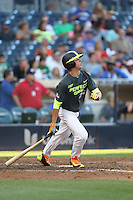 Blake Rutherford (25) of the West team bats during the 2015 Perfect Game All-American Classic at Petco Park on August 16, 2015 in San Diego, California. The East squad defeated the West, 3-1. (Larry Goren/Four Seam Images)