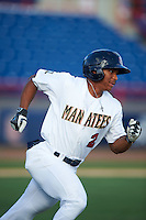 Brevard County Manatees center fielder Corey Ray (2) runs to first during a game against the Daytona Tortugas on August 14, 2016 at Space Coast Stadium in Viera, Florida.  Daytona defeated Brevard County 9-3.  (Mike Janes/Four Seam Images)