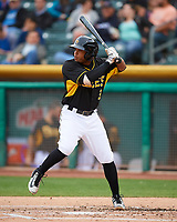 Sherman Johnson (3) of the Salt Lake Bees at bat against the Fresno Grizzlies in Pacific Coast League action at Smith's Ballpark on April 17, 2017 in Salt Lake City, Utah. The Bees defeated the Grizzlies 6-2. (Stephen Smith/Four Seam Images)