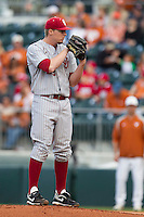 Oklahoma Sooners starting pitcher Jonathan Gray #22 looks to his catcher for the sign against the Texas Longhorns in the NCAA baseball game on April 5, 2013 at UFCU DischFalk Field in Austin Texas. Oklahoma defeated Texas 2-1. (Andrew Woolley/Four Seam Images).