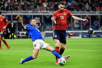 Federico Bernardeschi of Italy and Aymeric Laporte of Spain during the Uefa Nations League semi-final football match between Italy and Spain at San Siro stadium in Milano (Italy), October 6th, 2021. Photo Andrea Staccioli / Insidefoto