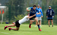 Saturday 5th September 2021<br /> <br /> Tom Hodgkinson is tackled by Zach Scarlett during U18 Clubs inter-pro between Ulster Rugby and Leinster at Newforge Country Club, Belfast, Northern Ireland. Photo by John Dickson/Dicksondigital