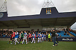 Hyde 1 Stalybridge Celtic 1, 26/12/2011. Ewen Fields, Conference North. The teams taking to the pitch at Ewen Fields, Hyde, before Hyde (in red) take on Stalybridge Celtic in a Conference North fixture. The match, between the teams occupying the top two places in the division, ended one-all in front of 1868 spectators, Hyde's largest home attendance in 15 years. Ewen Fields is used by Manchester City reserves for matches and has been rebranded in city's colours and with their sponsors advertising around the ground, with the club changing its name from Hyde United to the present one. Photo by Colin McPherson.