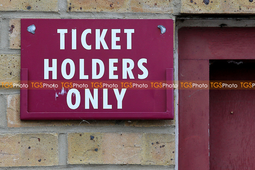Ticket Holders Only sign ahead of West Ham United Ladies vs Tottenham Hotspur Ladies, FA Women's Premier League Football at the Boleyn Ground, Upton Park